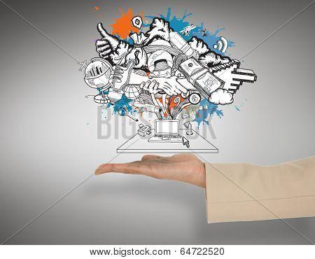 Female hand presenting computer brainstorm against grey vignette