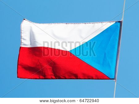 Czech Flag In The Wind Against A Sky