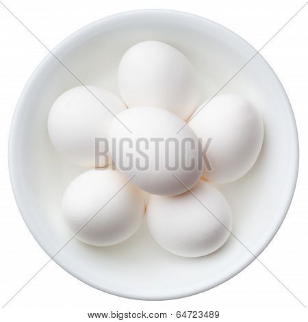 White Eggs In A Bowl Isolated On White Background