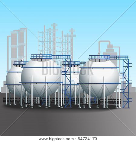 Refinery Tank Farm With Pipeline