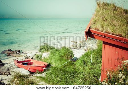 Red House By The See In Lofotn Islands