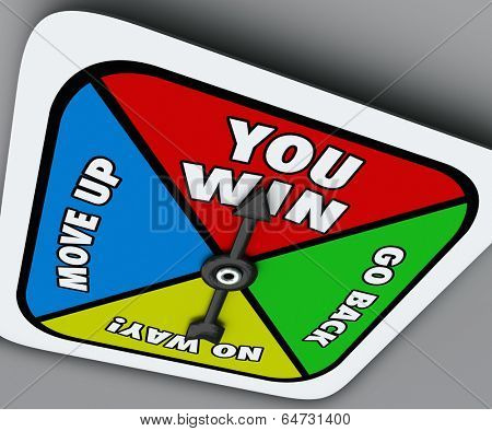 You Win Words Board Game Spinner Competition Victory