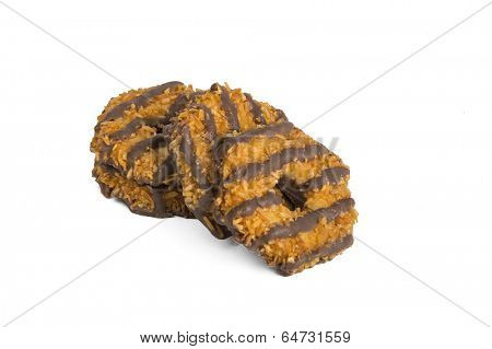 Chocolate cookies isolated on white back ground