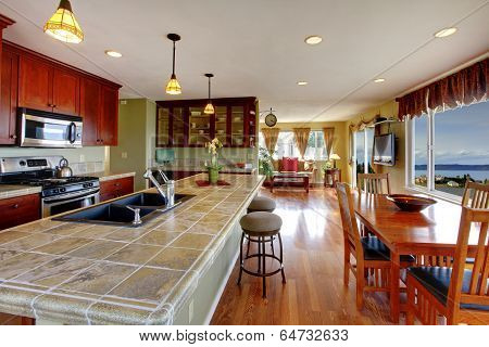 Open Floor Plan. Kitchen And Dining Area