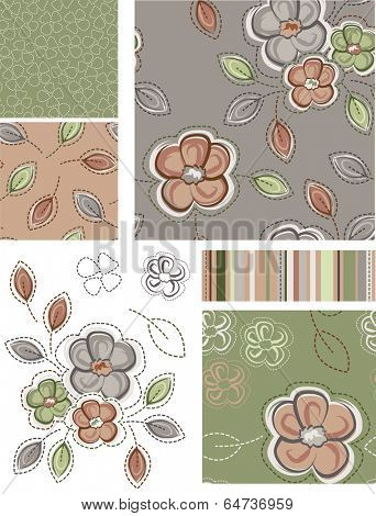 Autumn Inspired Seamless Floral Patterns and Icons. Use as fills, digital paper, or print off onto fabric to create unique items.