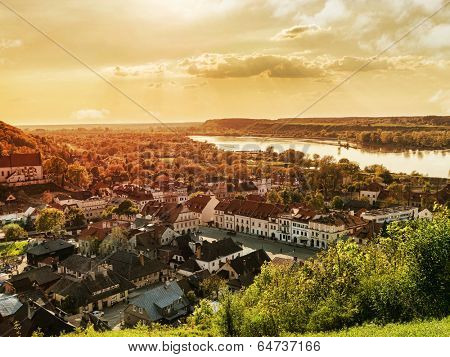 Panorama of Kazimierz Dolny town over the Vistula river Poland