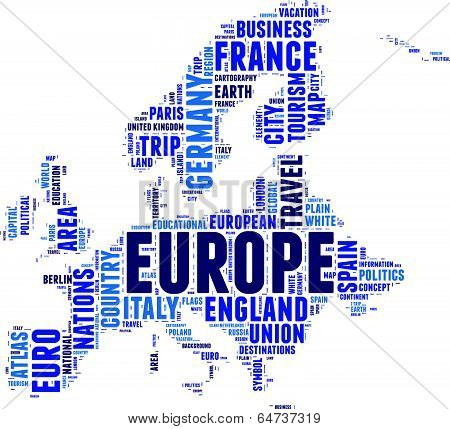 Europe vector map tag cloud concept illustration