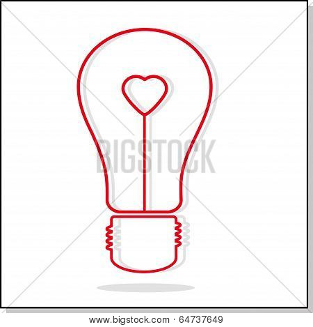 Illustration Of Light Bulb With Heart