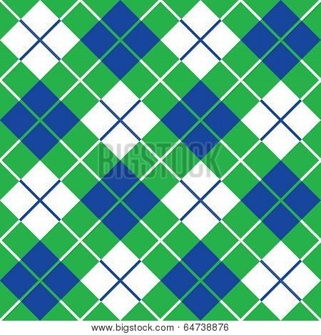 Bias Plaid in Blue and Green