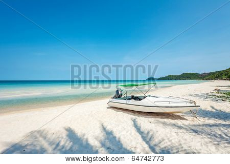 Speedboat at the tropical beach at Phu Quoc island  in Vietnam