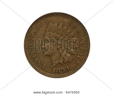 Closeup of Indian cent