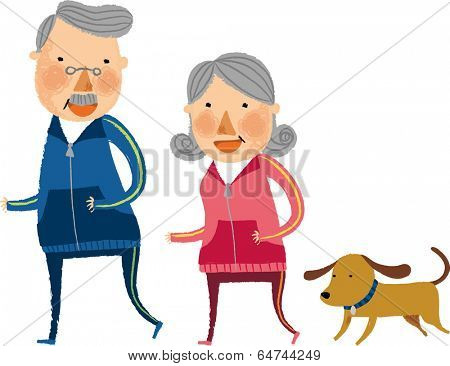 The view of old couple is running