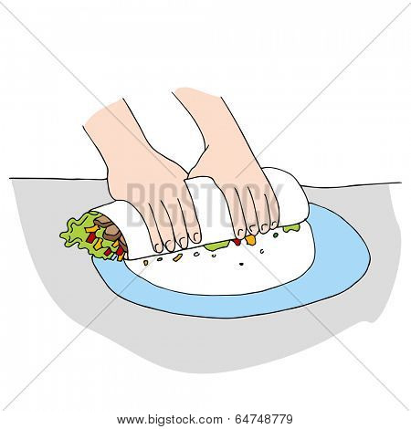 An image of a chicken salad wrap being prepared.