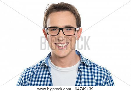 Portrait Of Happy Young Man Wearing Eyeglasses Isolated On White Background