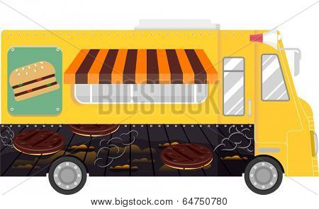Colorful Illustration of a Food Truck That Specializes in Selling Burgers