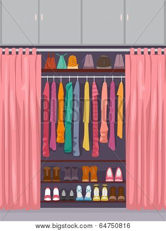Illustration Featuring a Closet Full of Clothes and Accessories Partially Concealed by a Curtain