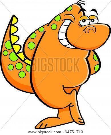 Cartoon bashful dinosaur.