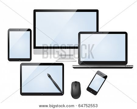 Set of modern digital devices with blank screen. Isolated on white background.