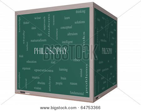 Philosophy Word Cloud Concept On A 3D Cube Blackboard