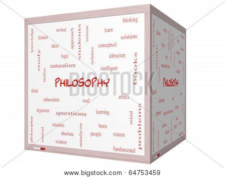 Philosophy Word Cloud Concept On A 3D Cube Whiteboard