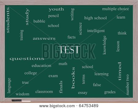 Test Word Cloud Concept On A Blackboard