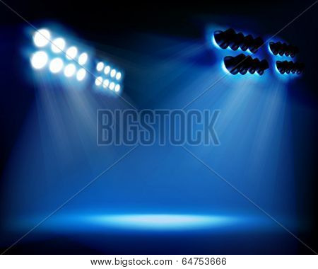 Spot lighting on the stage. Vector illustration.