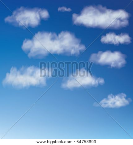 Clouds With Blue Sky. Vector Illustration