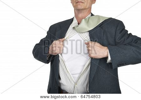 Businessman Showing Blank Superhero Suit Underneath His Shirt Standing