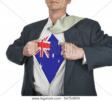 Businessman Showing Australia Flag Superhero Suit Underneath His Shirt