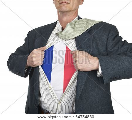Businessman Showing French Flag Superhero Suit Underneath His Shirt