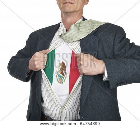 Businessman Showing Mexico Flag Superhero Suit Underneath His Shirt
