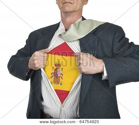 Businessman Showing Spain Flag Superhero Suit Underneath His Shirt