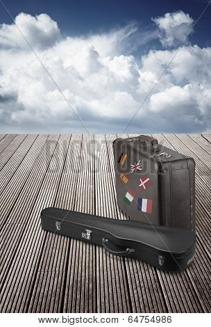 Old Suitcase And Violin Case With Striples Flags From Europe