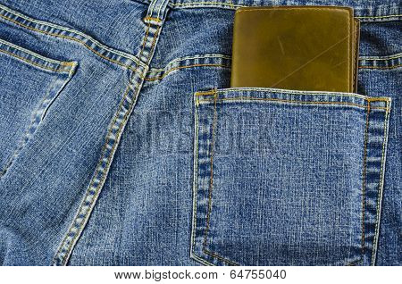 Blue Jeans Pocket With Wallet