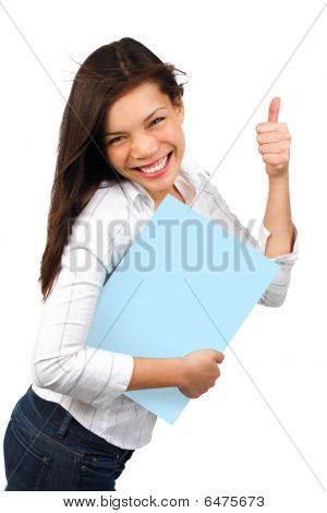Success Woman Holding Sign