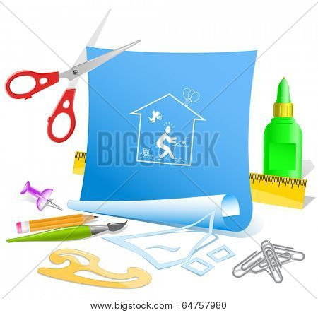Home inspiration. Paper template. Vector illustration.