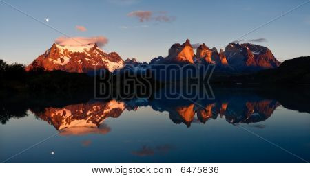 Sunrise & Alpenglow At Torres Del Paine National Park, Patagonia, Chile