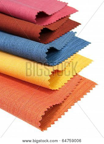 Multicolor Tone Of Fabric Sample On White Background