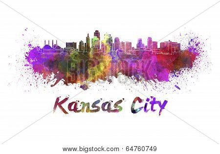 Kansas City Skyline In Watercolor