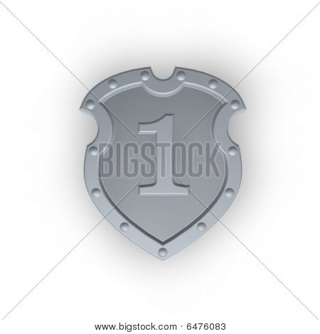 Metal Shield With Number One