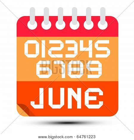 June Paper Calendar Isolated on White Background