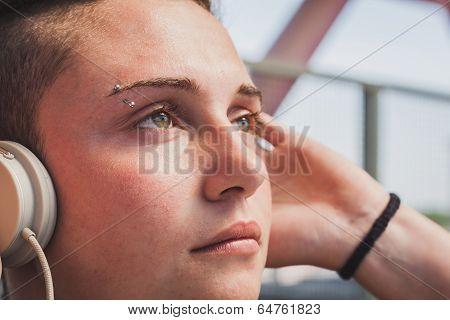 Pretty Short Hair Girl Listening To Music