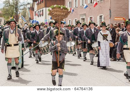 Miesbach / Germany / Bavaria - 05.May: Company of the mountain troops from the Jachenau