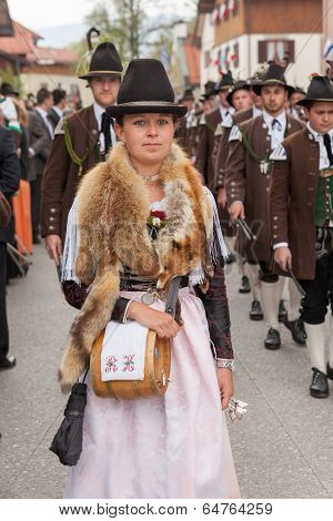 Miesbach / Germany / Bavaria - 05.May: Beautiful young Mark Eden provider with genuine fox fur aroun