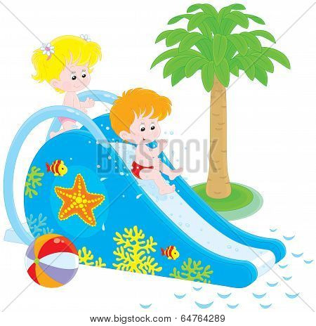Children on a waterslide
