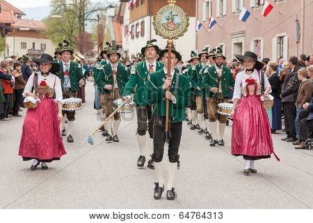 Miesbach / Germany / Bavaria - 05.May: Company of the mountain troops from Garmisch