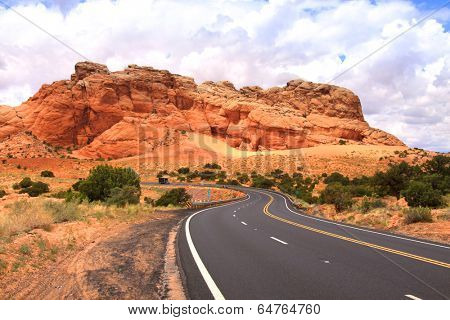 Winding desert high way in Arizona