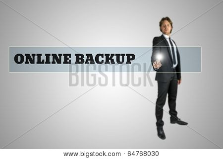 Businessman Accessing Online Backup