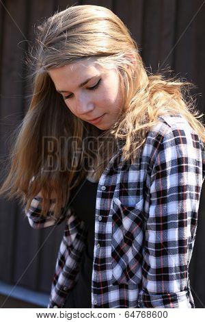 Bashful teenage girl