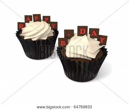 Happy Birthday Cupcakes With On Whiteboard With Red Chocolate Letters